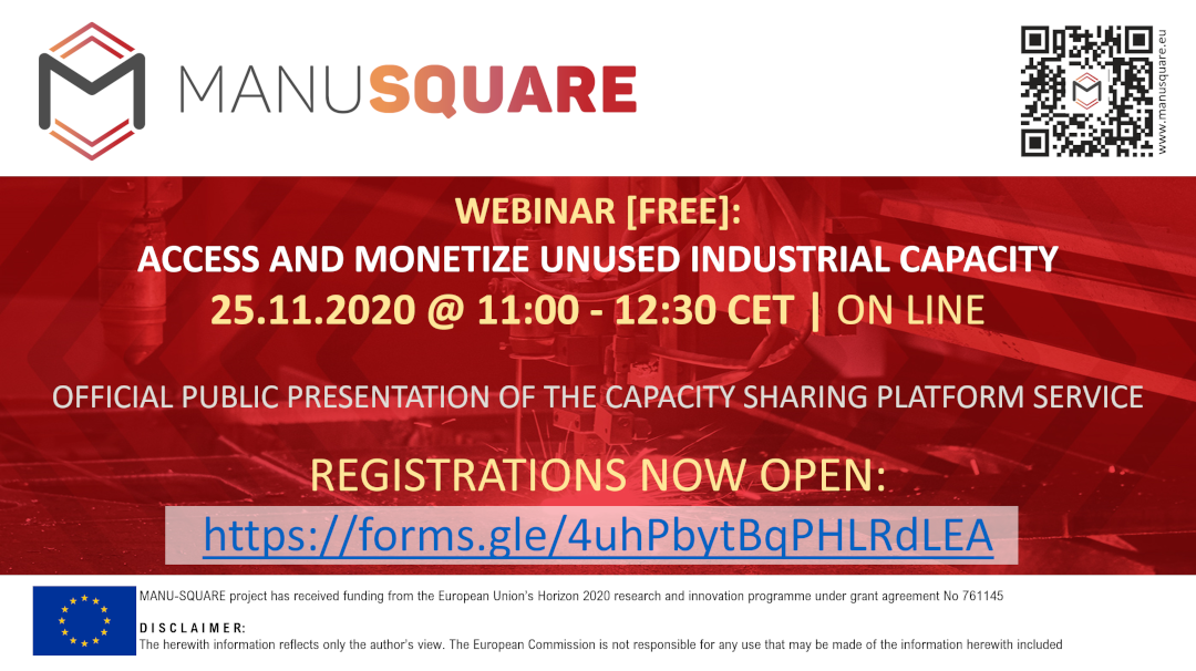REGISTER TODAY: Official launch of the MANU-SQUARE platform Capacity Sharing service