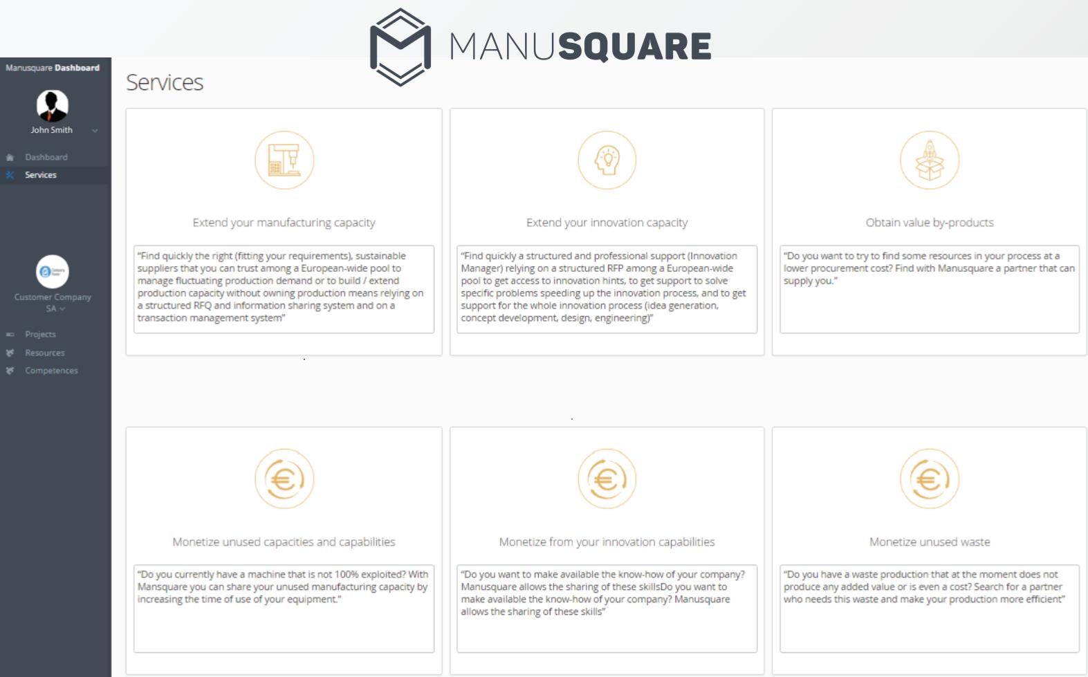 MANU-SQUARE platform under extensive testing