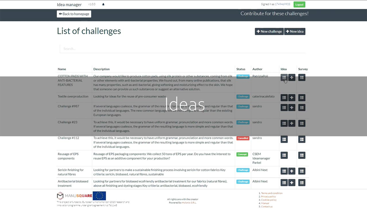 MANU-SQUARE platform launched a new tool: IDEA MANAGER