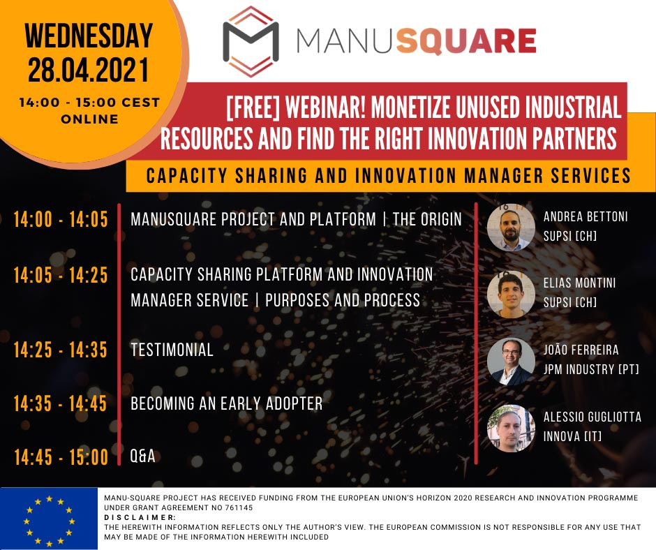 NEW MANU-SQUARE platform Webinar launches a new service INNOVATION MANAGER.